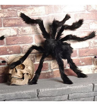 Паук огромный из меха, украшение на Хэллоуин, ~60 см