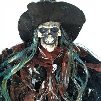 Скелет в колпаке подвесной декор (75см) с мигающими глазами и звуком