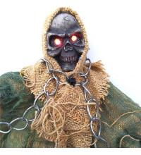 Скелет в цепях подвесной декор с мигающими глазами и звуком
