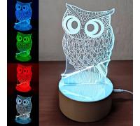 Світильник Сова 3D Led, 7 кольорів підсвічування