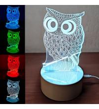 Cветильник Сова 3D Led, 7 цветов подсветки