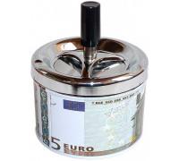Пепельница металлическая с механизмом анти-дым с изображением евро-валюты