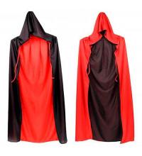 Плащ двосторонній c капюшоном чорно-червоний, висота 150см.