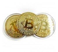 Монета Биткоин сувенирная. Подарочный Bitcoin