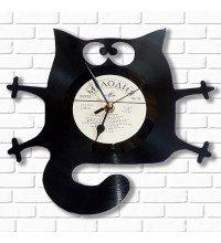 Настінний годинник Кот з вінілових платівок
